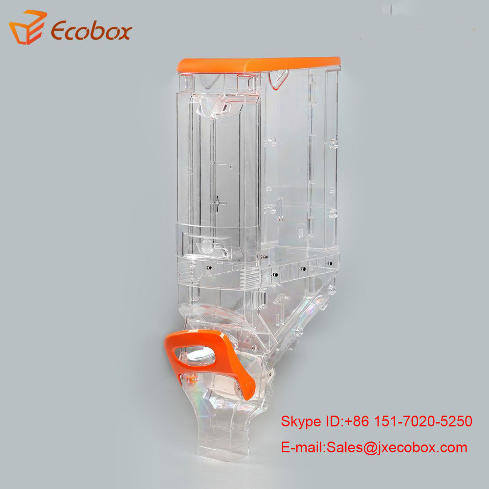 Foods feed dispenser gravity fed grains, rice, nuts, seeds dispenser