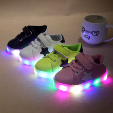 PU flashing light up children led shoes with lithium battery