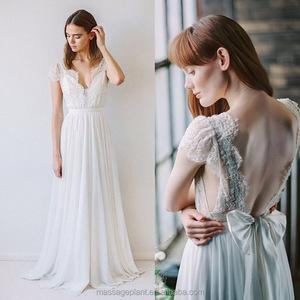 25ceec4c4c Low Back Lace Front Chiffon Wedding Dress