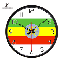 Ethiopia national flag clock young town quartz led antler clock