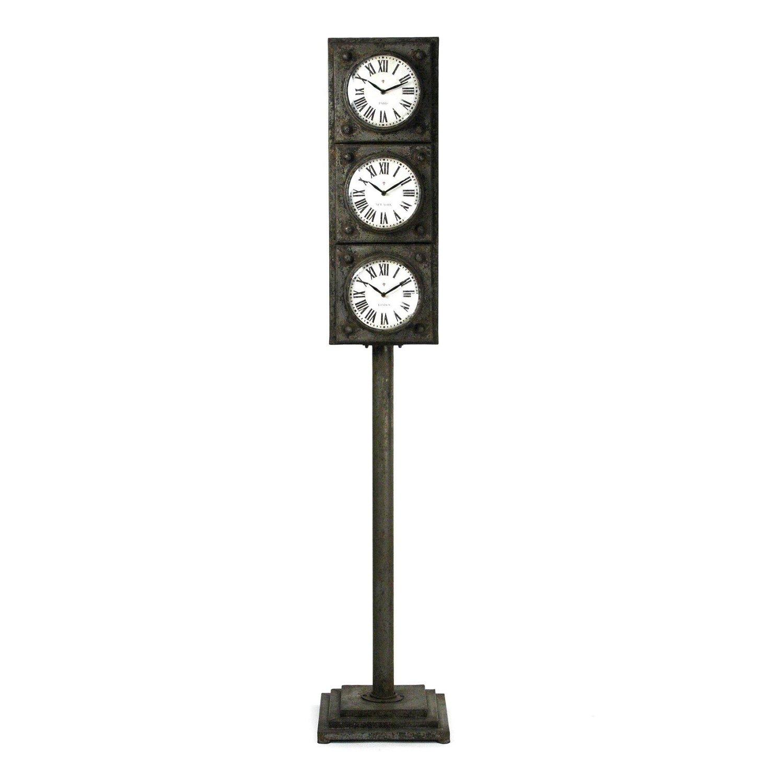 Get Quotations · Industrial Rustic Metal Floor Standing Clock Storage Tower