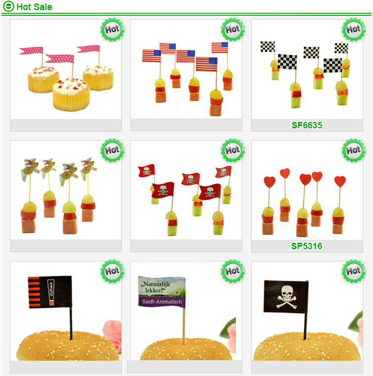 promotional party food topper cocktail disposal flag bamboo food skewer