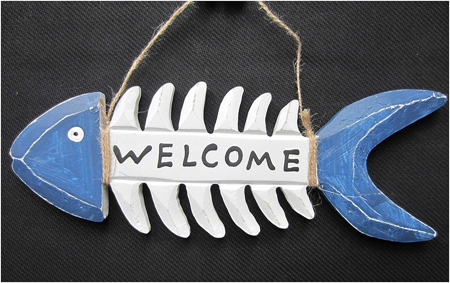 Wooden Welcome Sign For Front Door-Lebeila Welcome Signs For Outside, Wood Pirate Stylish Fish Bone Welcome Decor With Burlap String, Wall Decal Plaque For Garden Entrance Porch Indoor Or Outdoor