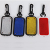 Hot selling logo printed square shape mini led flash reflective bag light with carabiner