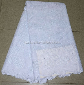 Pure white cotton lace embroidery fabric/wholesale high quality white swiss cotton lace fabric/african swiss voile lace