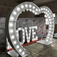 LED illuminated heart shaped wedding arch sign