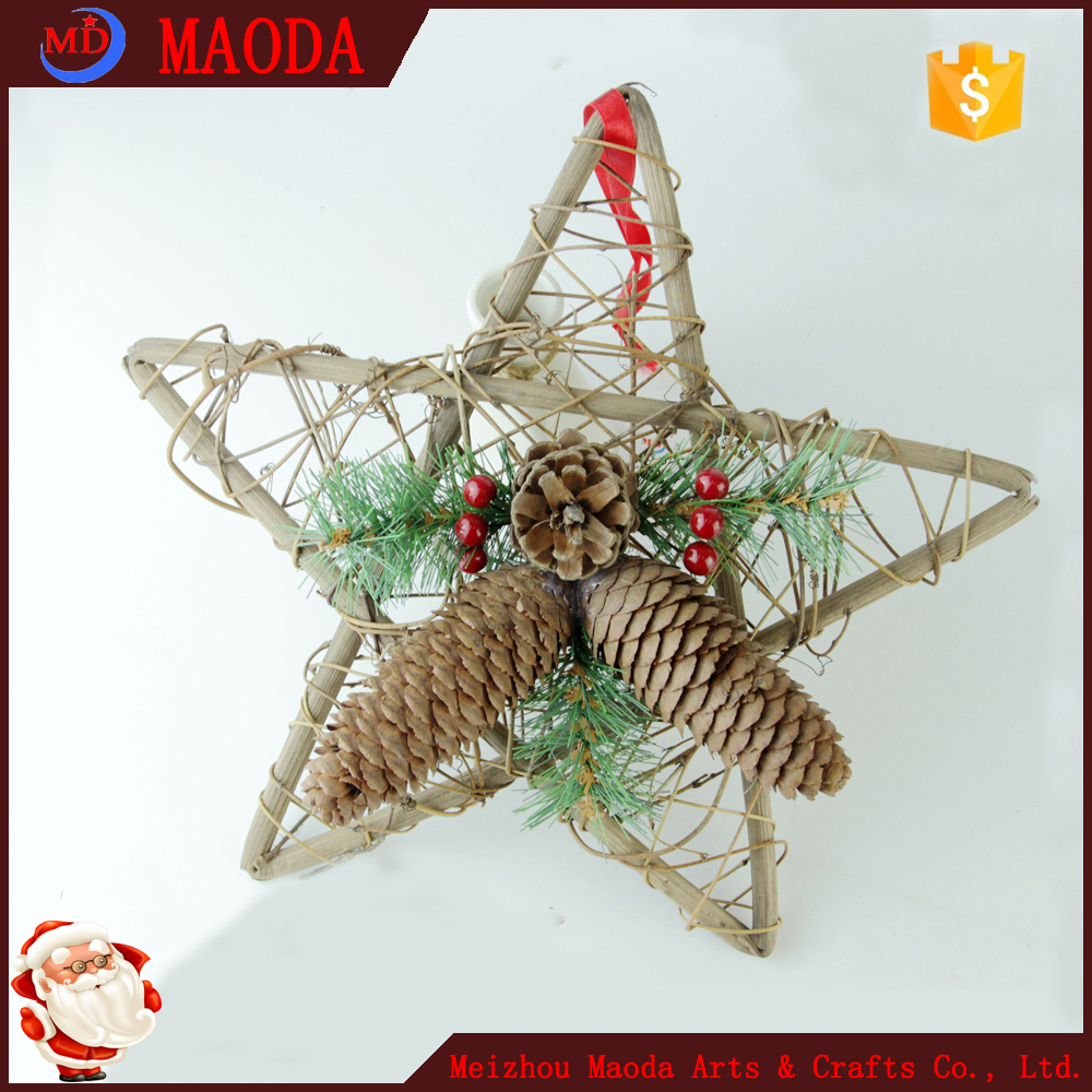 Design perfect high sales 12 inch rattan star ornaments with pine branches