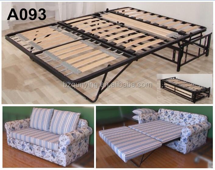 New Design Modern Convertible Steel Tube Wood Slat Folding Sofa Bed  Mechanism