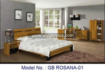 Simple Wooden Bed Furniture Set With Night Stand And Corner Desk In Modern Design Mdf Bedroom Sets Laminate