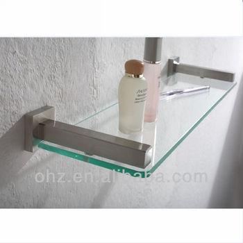 new modern bathroom stainless steel silver floating glass shelf brackets