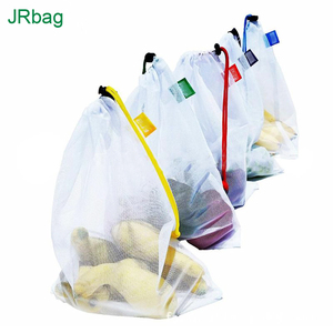 Factory Customized White Polyester Draw String Small Fish Net Mesh Fabric Fruit Packaging Gift Pouch Bags