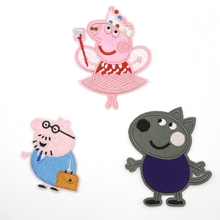 custom embroidered patches Cartoon cute pig applique embroidery patch for clothing