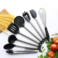 Hot sale 8 pieces FDA Grade Silicone Kitchen Tools Gadgets Stainless Steel Handle Silicone Kitchen Cooking Utensils
