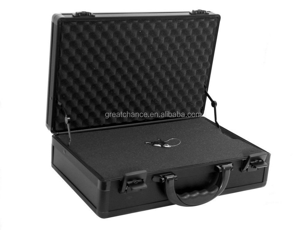 Aluminum Hard Case Briefcase With Foam Tools Storage Holder Lock Attache Carry