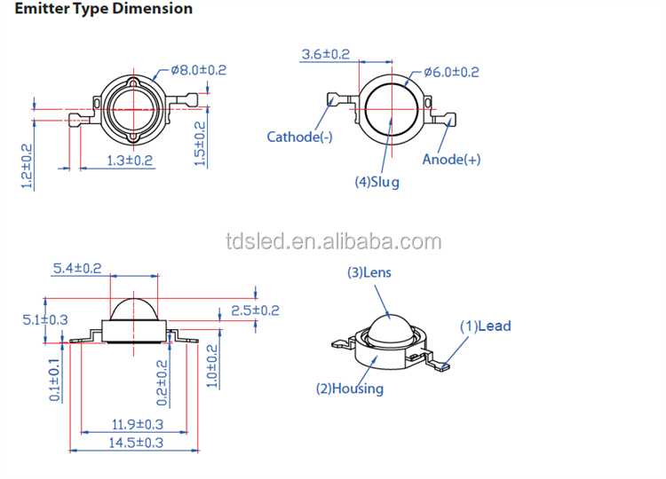 585-590-595-600nm Amber 1 Watt High Power Led For Hotel Lighting ...