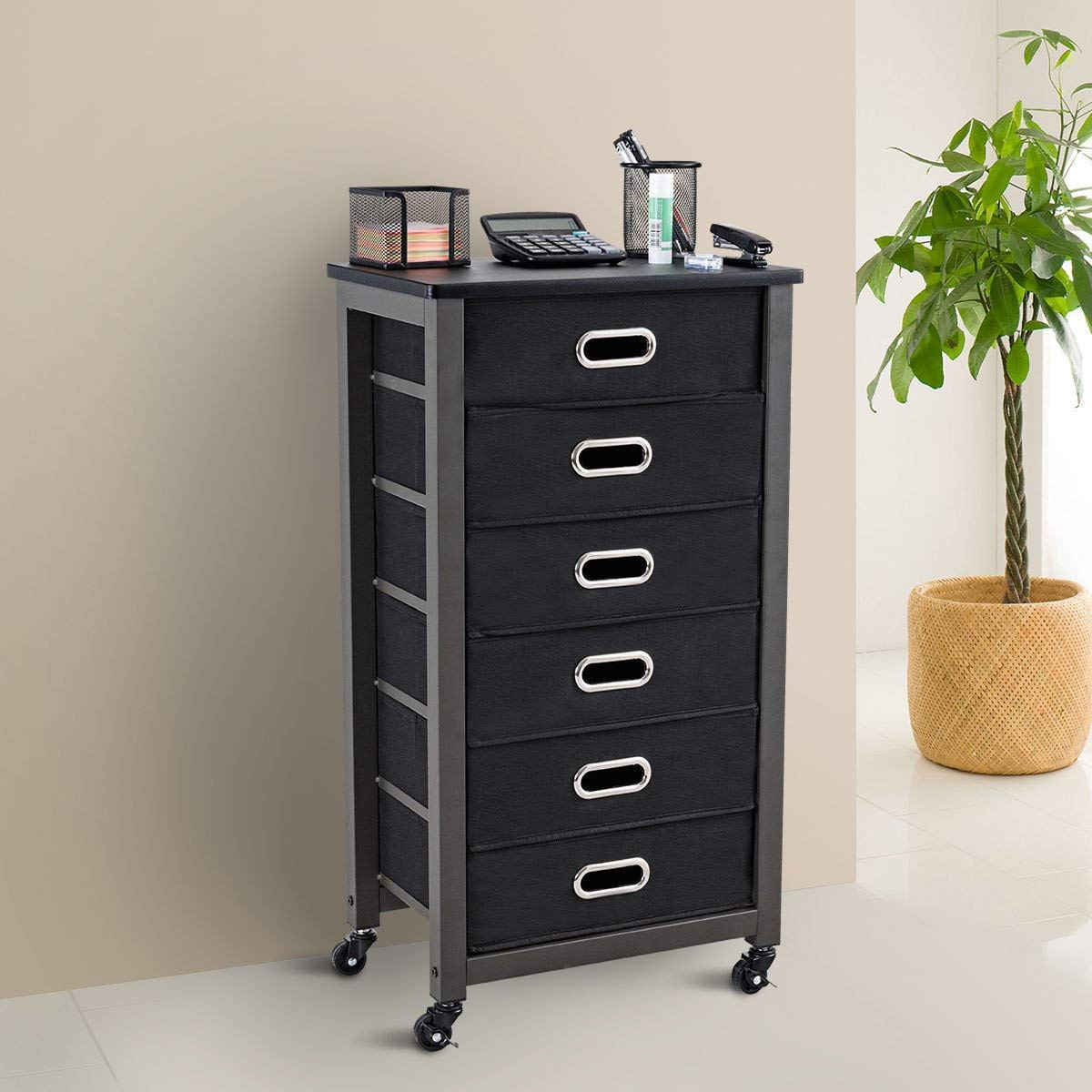 6-Drawer Mobile File Cabinet Home Office Vertical Furniture with Lockable Rolling Casters Lock Wheels Heavy Duty Rust Resistant Metal Frame Storage Letter Filing Cabinet Organizer BeUniqueToday