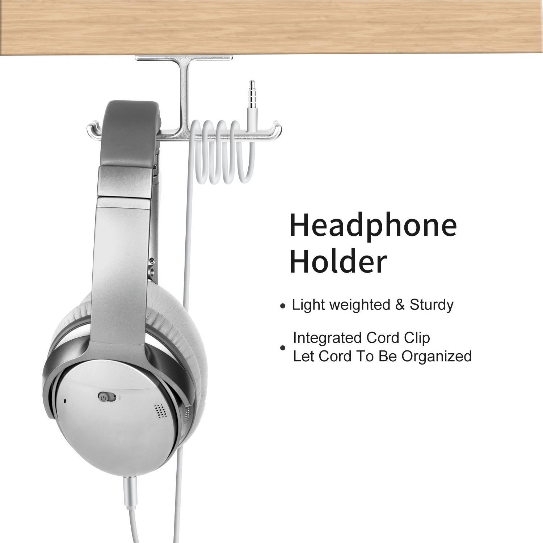 Black Aluminum Headphone Hanger, Perspex Under Desk Headset Holder With Cable Organizer