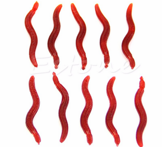 New tool for 10Pcs 4cm Red Worm EarthWorm Soft Fishing Lure Tackle Baits Bass Trout Bream