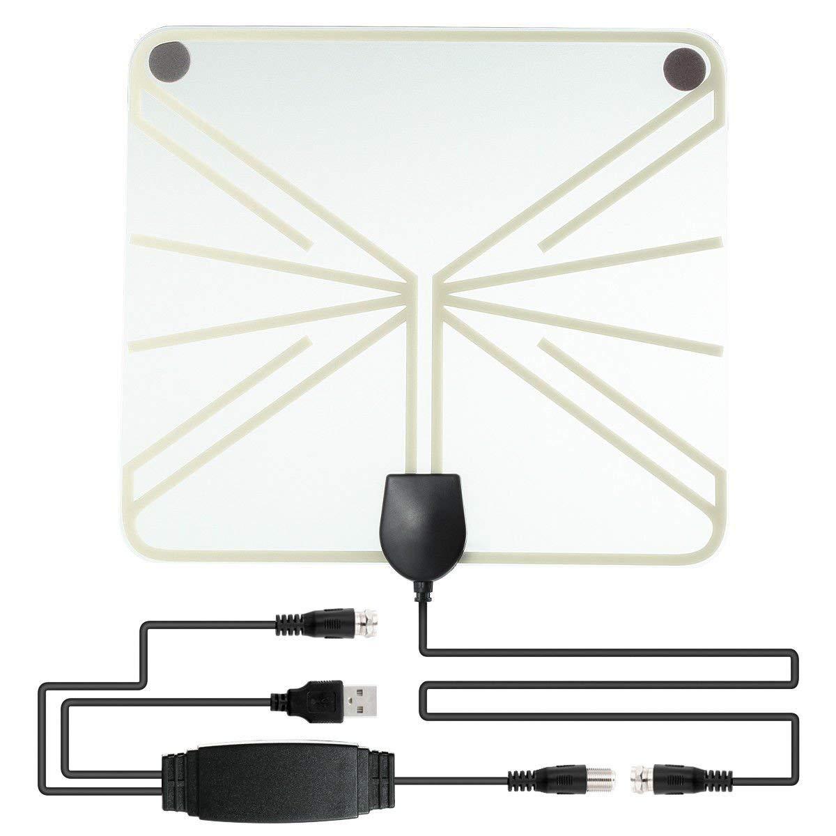 FidgetFidget Digital Indoor USB TV Antenna Signal Receiver Amplifier 50 Mile Range