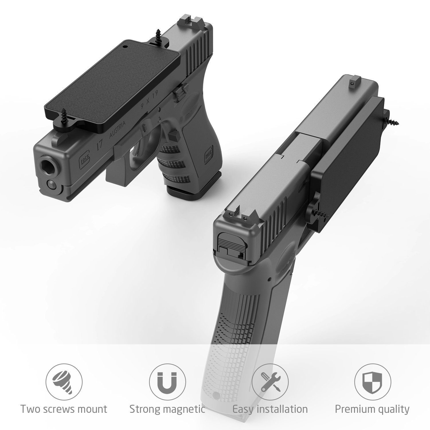 Magnetic Gun Mount, Merssyria Concealed Rubber Coated Gun Accessories 35 Lbs Rated for Vehicle and Home Handgun Pistol Revolver Magazine in Car,Truck, Wall, Vault, Bed,Bedside, Desk...