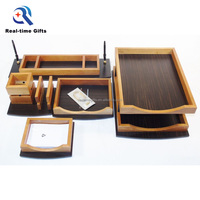 High Quality Practical Business Office Organizer Original Solid 5 Pieces Wooden Desk Stationery Set