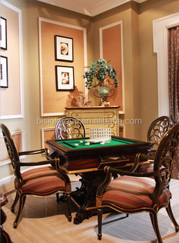 Retro Classic French Handcrafted Multifunctional Convertible Wood Dining  And Mahjong Table With Carving Armchair BF12