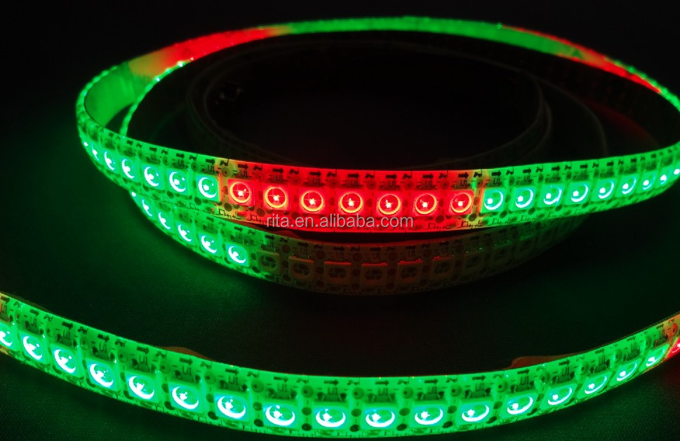 144leds/m WS2812B(5050 rgb led with WS2811 IC built-in) led pixel strip,DC5V,1m long;waterproof by silicon coating;white PCB