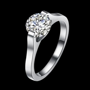 884bcfc46 Tryme Male Female White Round Ring With Crystal Zircon Gold Filled Promise Engagement  Rings for Men