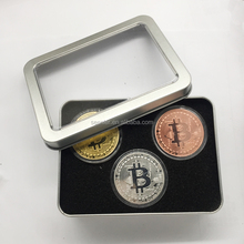 Bitcoin gift coin 1 troy oz 24k Gold silver copper Clad with Tin Box for Gifts or Collection