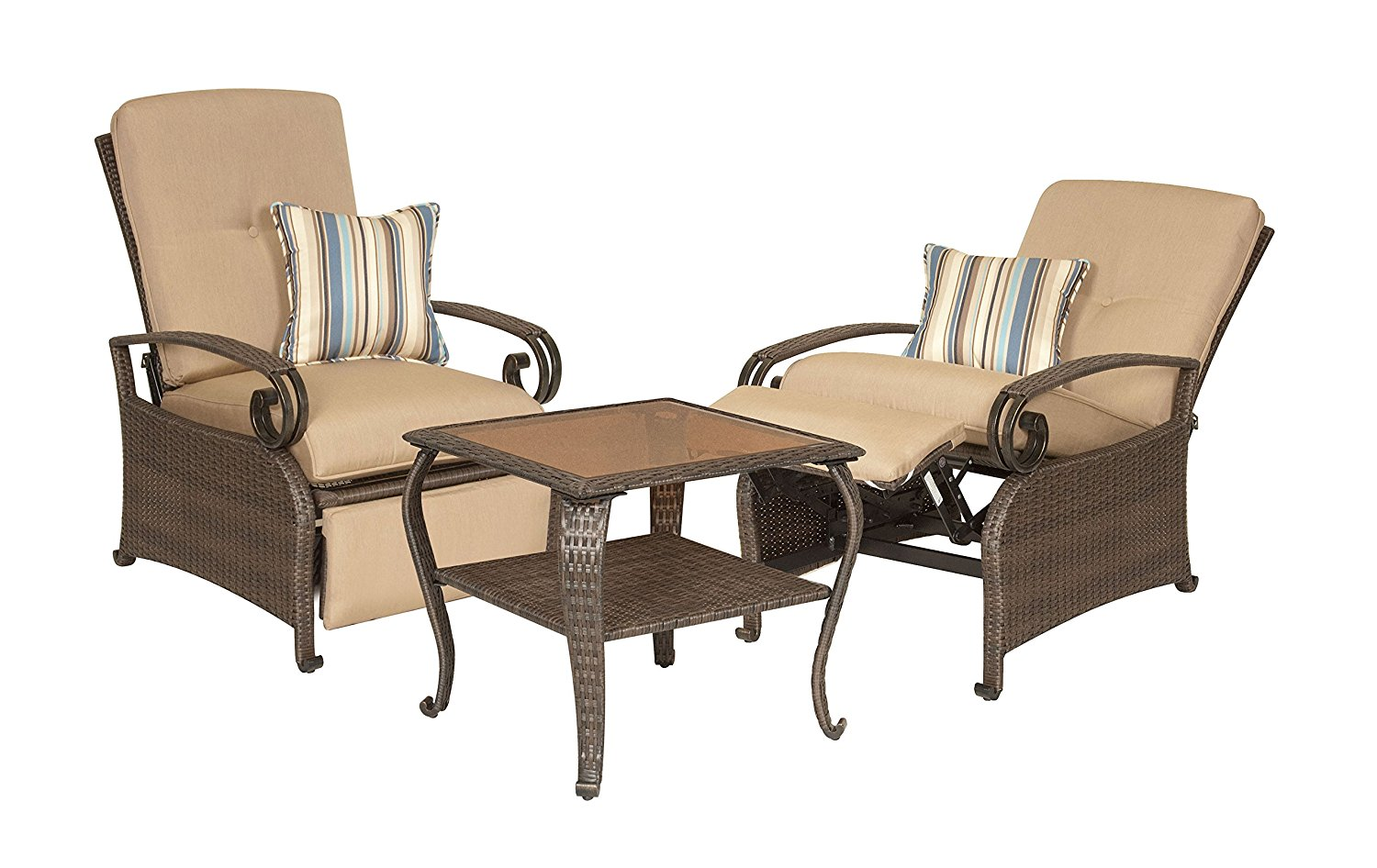 La Z Boy Outdoor Lake Como Resin Wicker Combo Two Patio Furniture Recliners And