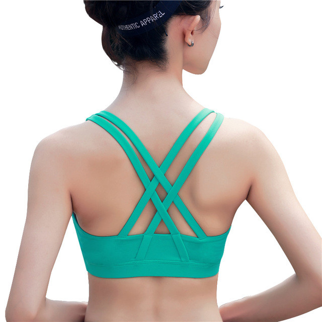 YOUME Professional Sport Bra Top Fitness Gym Women Strappy Vest Seamless Padded Yoga Bras Training Tank Top Push up Running Tops