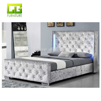 timeless design 6ed27 f6ba8 Led Silver Crushed Velvet Bed Frame Double King Size Fabric Bed For Bedroom  - Buy Leather Bed With Led Light,Post Bed Leather Sewing Machine,King Size  ...