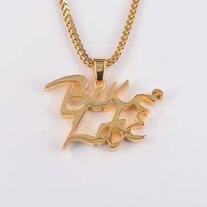 Custom logo/words pendant in 18K gold plated