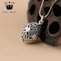Customized 925 Sterling Silver Oval Shape Filigree Cage Locket Pendants