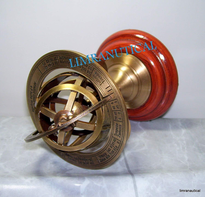 Shaheera Nautical Brass Antique Astrolabe Sphere Armillary Collectible Nautical Decor Wooden Base