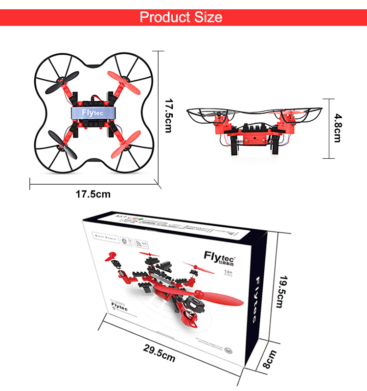 7. T11S_Red_WIFI_FPV_DIY_Building_Blocks_Drone_with_0.3MP_Camera_RC_Drone
