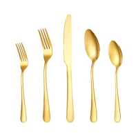 Low price flateware for wedding restaurant, shiny gold plated cutlery set for wedding