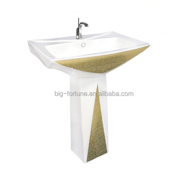 Stone design gold color pedestal hand wash basin brands