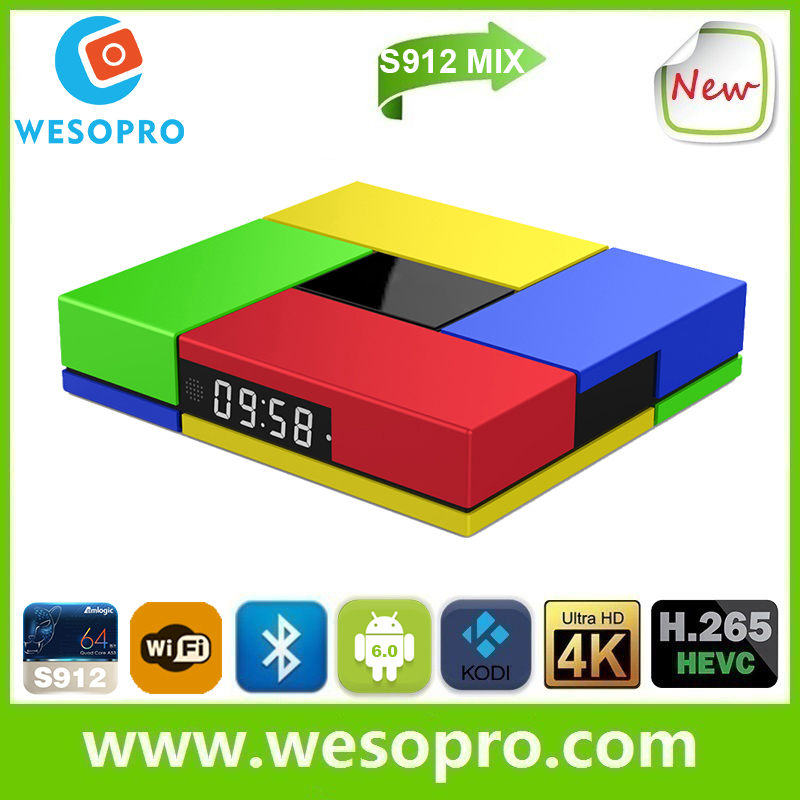 2016 WESOPRO S912 MIX smart <strong>TV</strong> <strong>Box</strong> Set Top <strong>Box</strong> <strong>Android</strong> 6.0 2GB/16GB KODI 4K Smart <strong>TV</strong> <strong>BOX</strong> S912 MIX