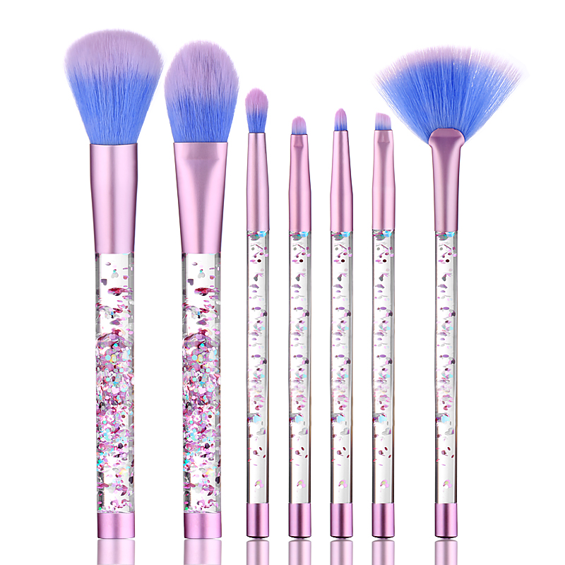4ea92701ecc Luxury Acrylic Make-up Cosmetics Brush Set 7pcs Clear Handle Good Quality  Bling Makeup Brush