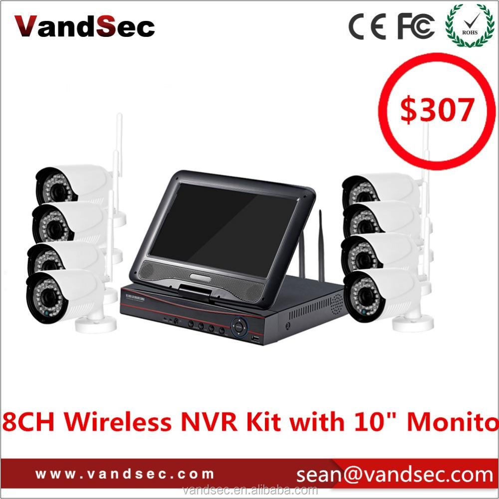 "Vandsec 10"" Monitor 8CH Wireless NVR Kit Security Bullet IP Camera kit CCTV Wireless Camera System Built in Router Wifi NVR kit"