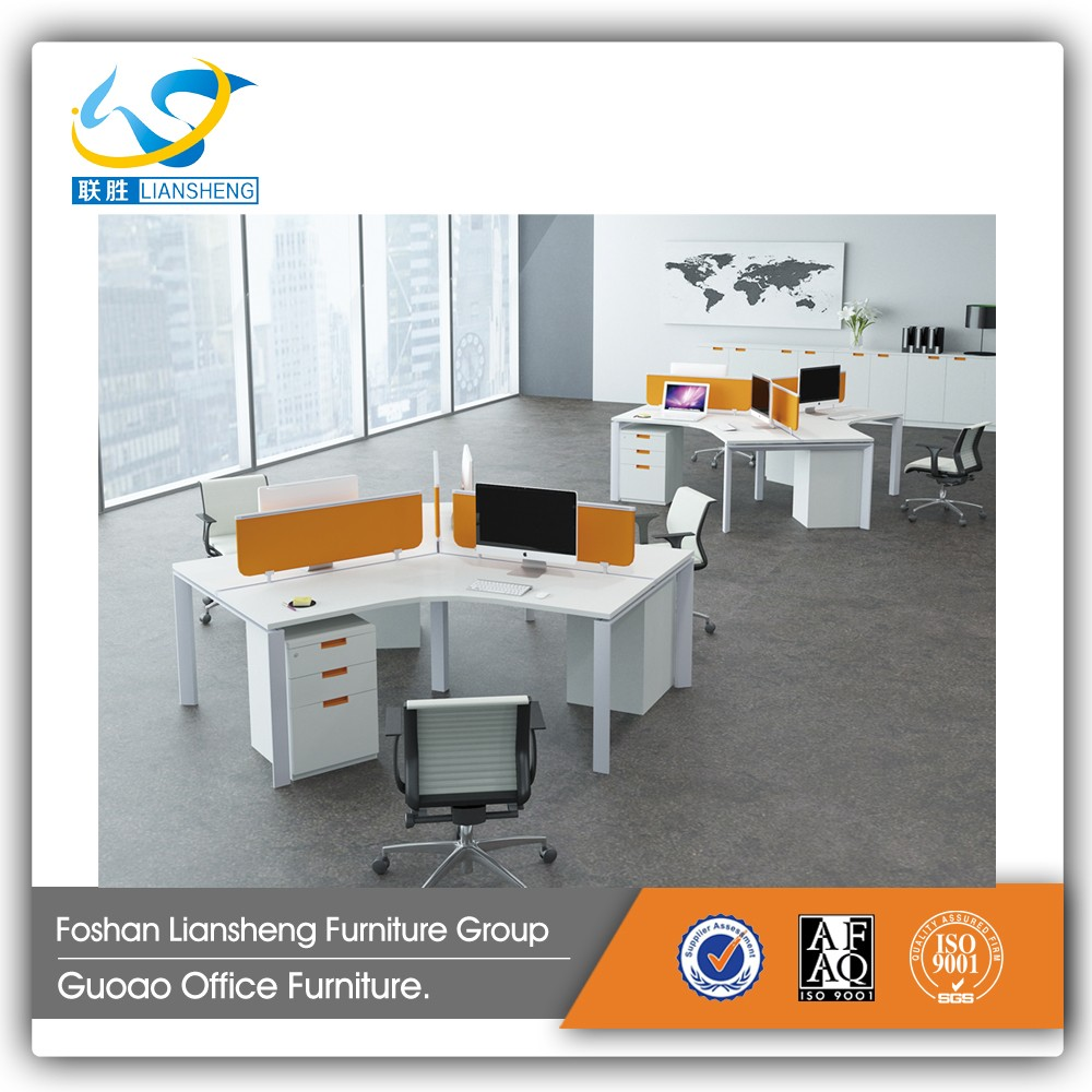 High Quality Office Furniture Used Aluminum Frame 3 Person Office Desk LB 12