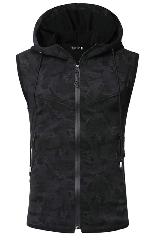 Qiangjinjiu Mens Winter Vest Removable Hooded Warm Sleeveless Coat Jacket
