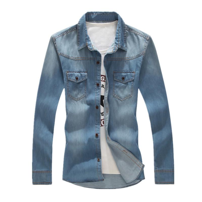 8f6c6afa558 Get Quotations · New fashion men denim shirts mens long sleeve casual denim  shirts mens slim fit jeans camisa