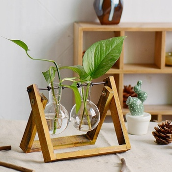 Clear Glass Planter Bulb Vases with Rustic Wood & Metal Swivel Holder Stand, Decorative Plant Terrarium Home Decor