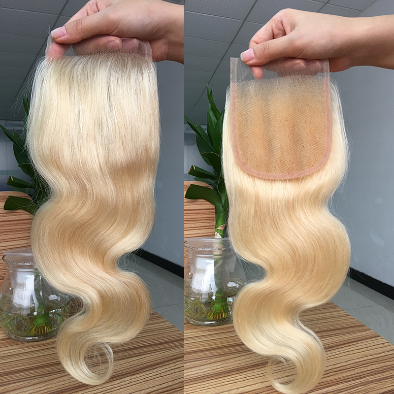 Real remy human hair body wave blonde 613 hair closure