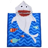 Amazon Hot Selling Shark Soft Swim Pool Coverup Poncho Cape Bath Robe For Boys Kids Children