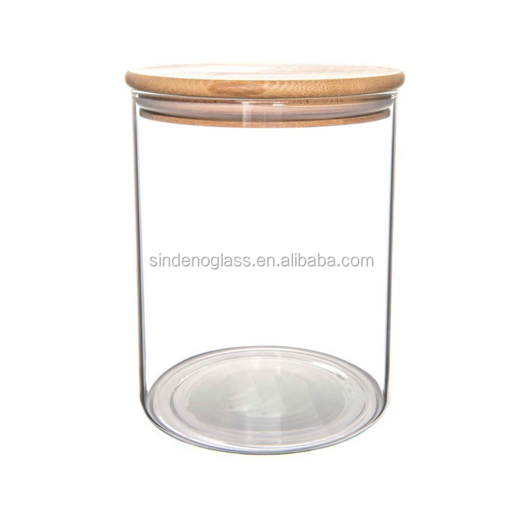 Wide Mouth Straight Glass Jar Tall Glass Jar With Bamboo Cap