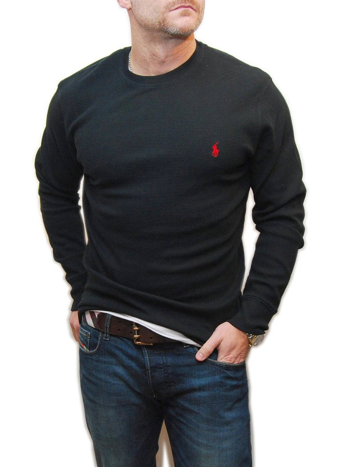 Get Quotations · Polo Ralph Lauren Mens Sleepwear Waffle Thermal Sweatshirt  Pullover Shirt Black 727e355c59