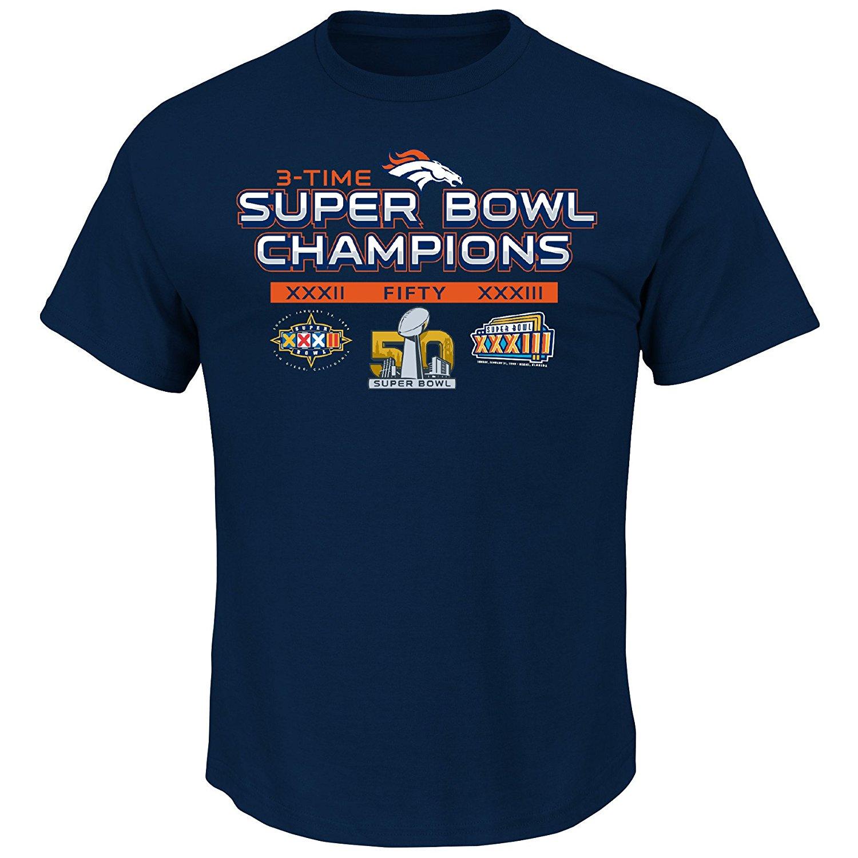 Denver Broncos 2015 Super Bowl 50 Champs Rings Navy T-shirt